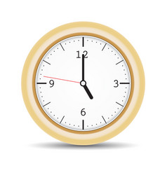 Round clock with brown frame and numbers vector