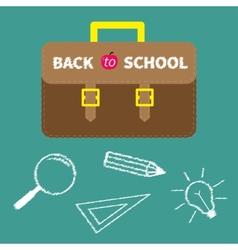 Schoolbag briefcase magnifier pencil light bulb vector
