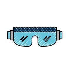 Scribble snowboard protective glasses vector