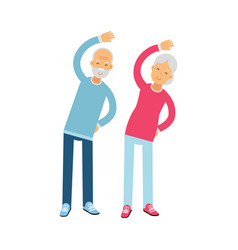 senior couple characters doing exercises physical vector image vector image