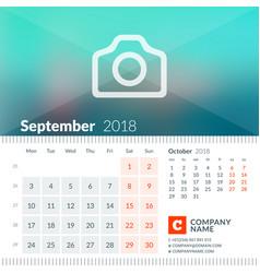 september 2018 calendar for 2018 year week vector image vector image