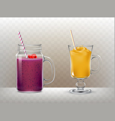 set of glasses cups for smoothies vector image vector image