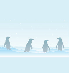 Silhouette of family penguin on ice vector