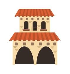 Spanish colonial architecture icon vector