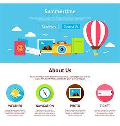 Summertime Flat Web Design Template vector image vector image
