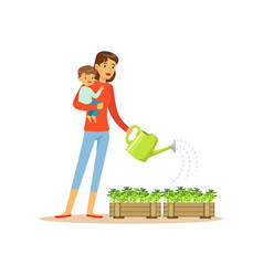 Super mom character with child watering flowers vector