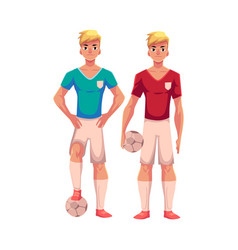 Two handsome blond soccer players teammates vector