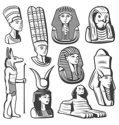 Vintage monochrome ancient egypt people set vector