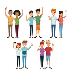 White background with colorful couples of friends vector