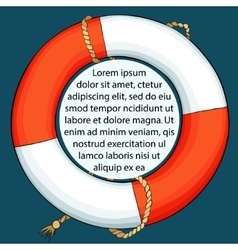 Lifebuoy on dark background with space for a text vector