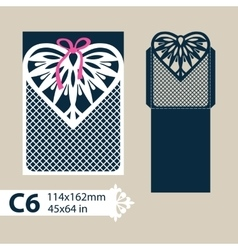 Template envelope with carved openwork heart vector image