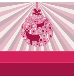 Christmas bauble over pink vintage EPS 8 vector image