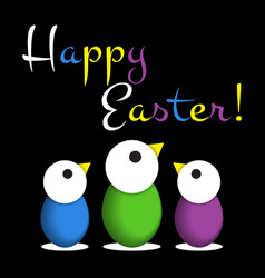 Easter greeting card - colored chicken eggs text vector