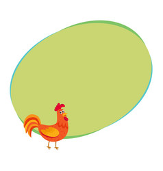 Cute and funny colorful farm rooster chicken vector
