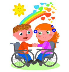 Romantic love in wheelchair vector