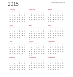 American calendar 2015 year week starts from vector