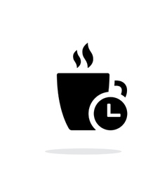 Coffe cup with time simple icon on white vector