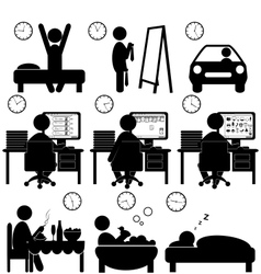 Set of flat situation icons with lazy worker vector image