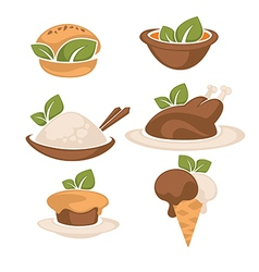 Food and leaves vector