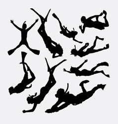 Swimming snorkeling diving silhouette vector image