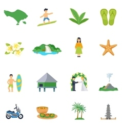 Set of flat icons about bali vector