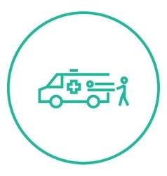 Man with patient and ambulance car line icon vector