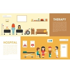 Hospital therapy flat medical hospital interior vector