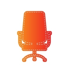 Office chair sign orange applique isolated vector
