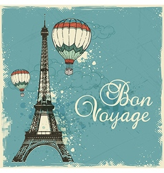 Vintage card with eiffel tower and air balloons vector