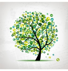Art tree with figures green for your design vector