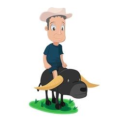 Asian Farmer Buffalo Cute Character vector image