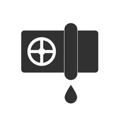 Black icon on white background water pipe and drop vector