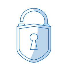 blue shading silhouette cartoon padlock with vector image