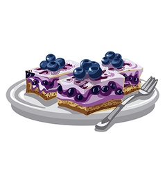 blueberry creamy cakes vector image vector image