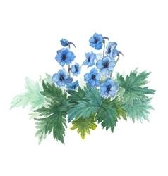 Bush blue anemones vector