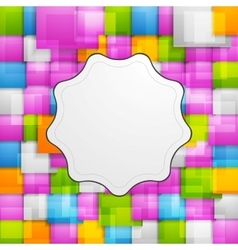Colorful squares background and retro label vector image