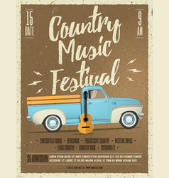 country music festival flyer vector image vector image