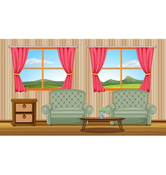 Cushion chairs and side table vector image vector image