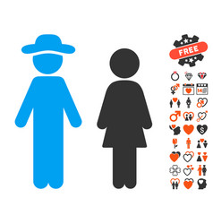 gentleman and lady icon with valentine bonus vector image