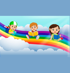 happy children reading book over the rainbow vector image vector image