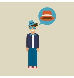 Hipster character bow tie hat vector