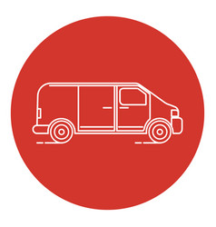 Line art style minivan car icon vector