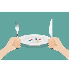 Man eating a pills vector image vector image