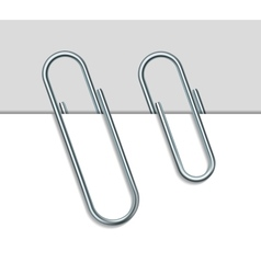 Metal paperclip and paper vector