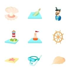 Nautical theme icons set cartoon style vector
