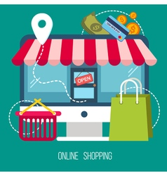 Online shopping concept mobile marketing vector