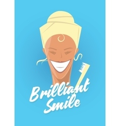Poster with woman smiling white healthy teeth vector