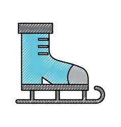 Scribble cute ice skate cartoon vector