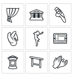 Set of ballet icons curtain theater vector