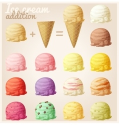 Set of cartoon ice cream icons vector image